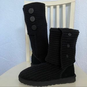 Ugg Tall Cardy Black Sock Boots